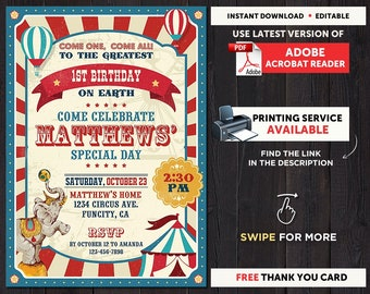 Circus Themed Party Invitations Vintage Birthday Invitation Instant Download Carnival Theme