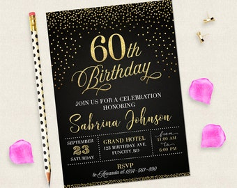 60th Birthday Invitation For Women Black And Gold Invitations Digital Woman 60 Years Old Her