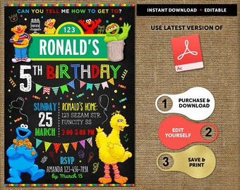 Sesame Street Birthday Invitation Instant Download Party Thank You Cards