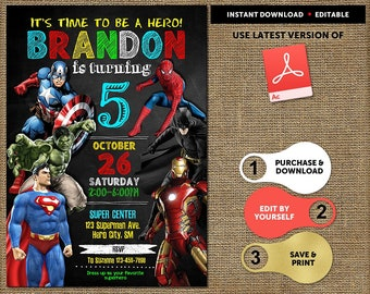 Superhero Birthday Invitation Instant Download Boy Invitations Super Hero Party Invite