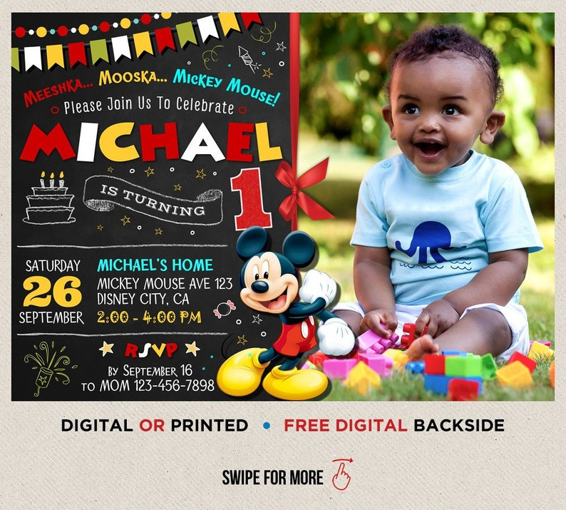 Mickey Mouse Birthday Invitation Boy Printable First