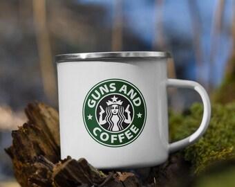Guns & Coffee Enamel Mug