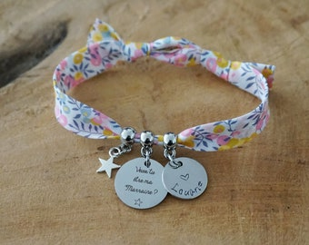 you want to be my godmother - personalised bracelet - child name - godmother gift - godmother request - communion baptism gift