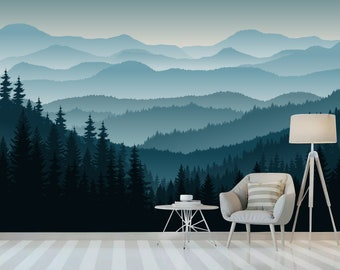 mountain mural etsy3d mountain mural wallpaper, ombre blue mountain pine forest trees peel and stick wall poster,nursery wall art removable self adhesive