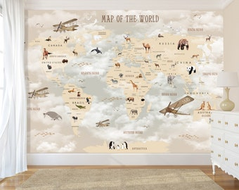 World map wall decal | Etsy on