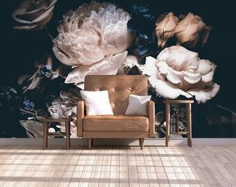 floral mural etsydark vintage floral wallpaper, floral wallcovering dramatic floral wall mural, self adhesive, wedding clipart removable wallpaper