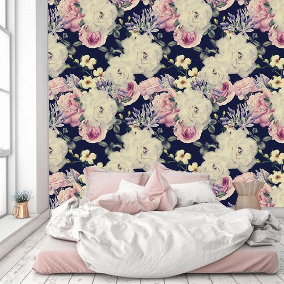 Dark Floral Peel And Stick Wallpaper Wall Mural Dark Wall Etsy