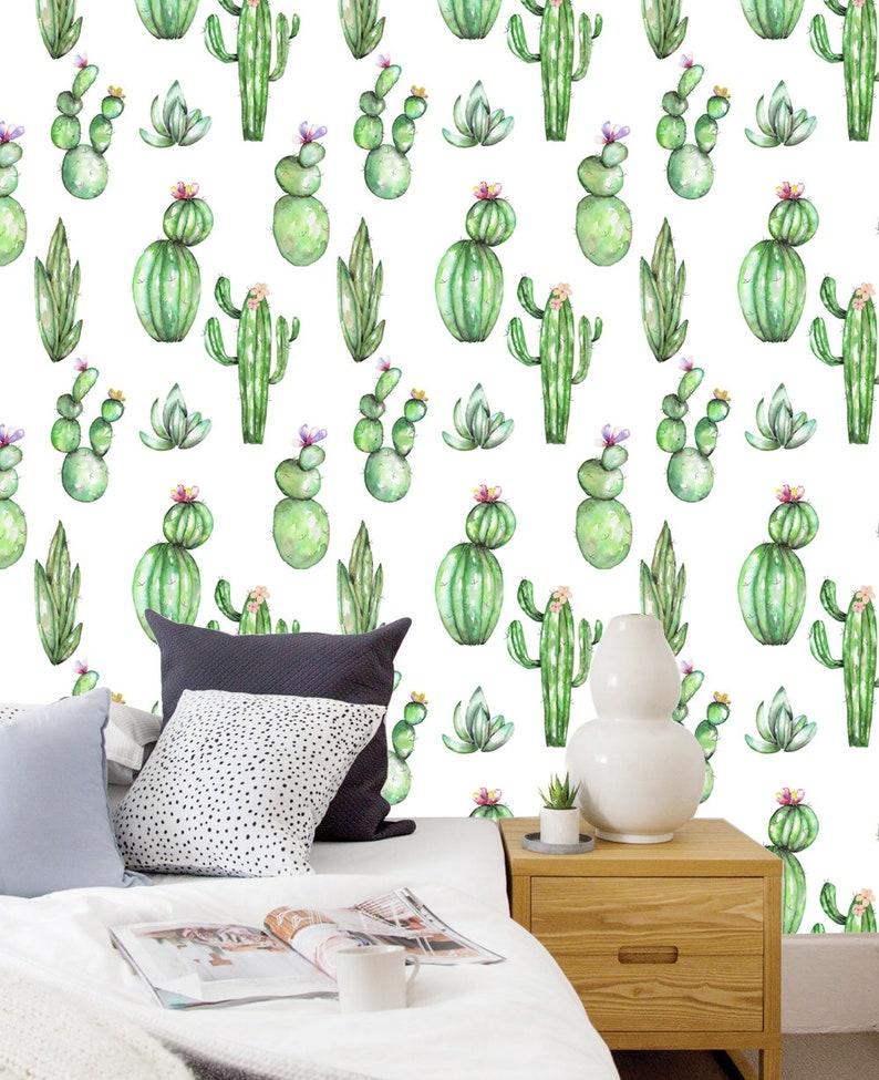 Cactus print watercolor cactus Wallpaper Wall Mural Removable Wallpaper Custom Design Wall paper Peel and Stick Fabric Wallpaper