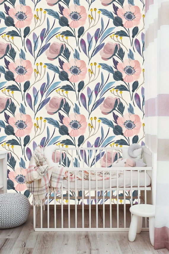 Removable Wallpaper Nursery Wallpaper Self Adhesive Wallpaper Vintage Style Floral Wall Mural Girl Room Peel And Stick