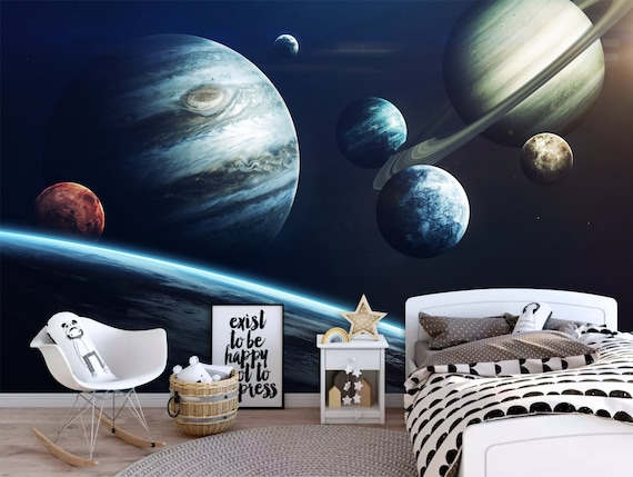Planet Solar System Wallpaper Wall Mural Galaxy Galaxy Etsy