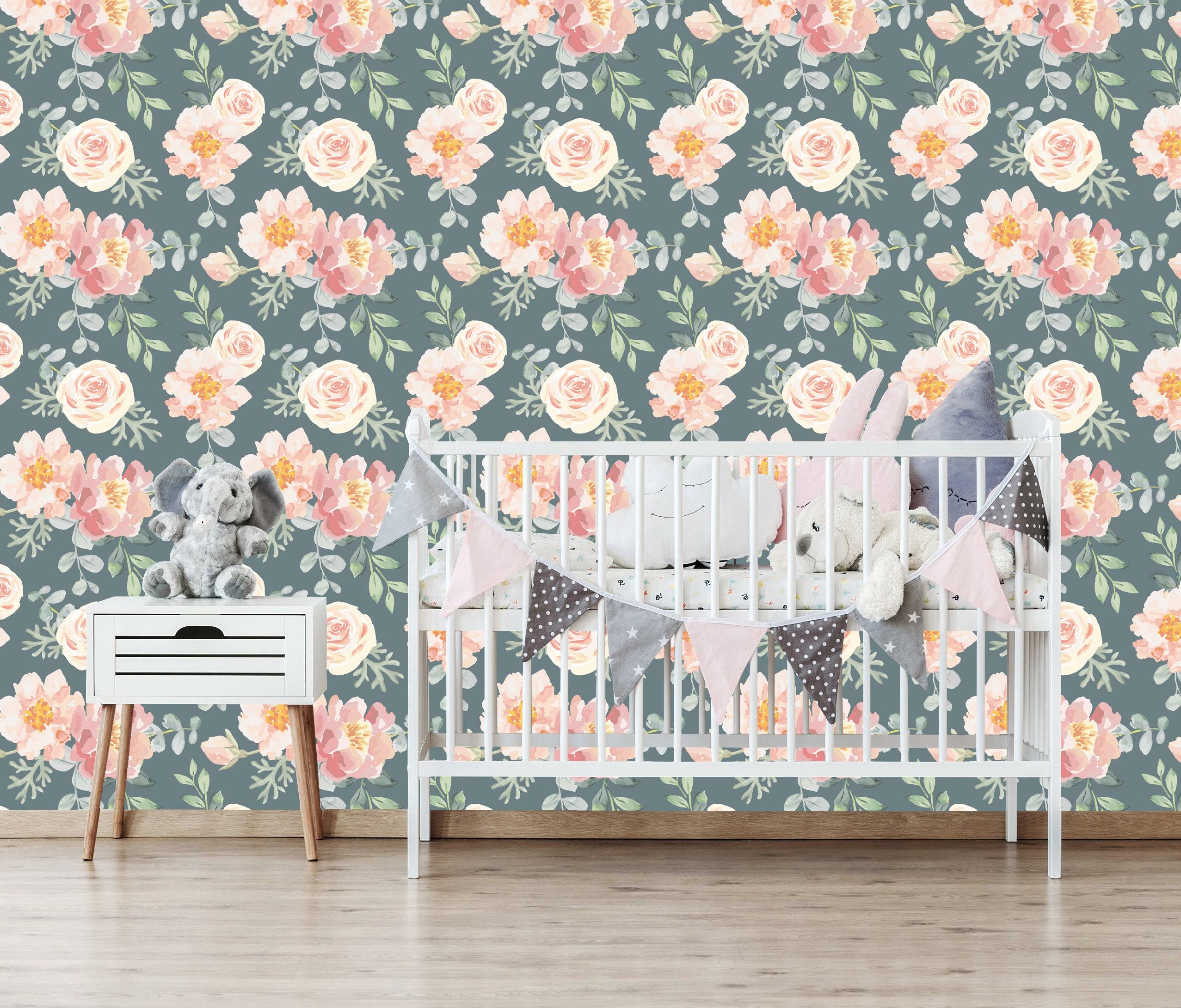 Removable Wallpaper Floral Wallpaper Vintage Pink Floral Etsy
