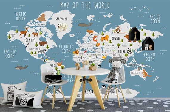 World Map Wall mural , Children Map with animal map wallpaper, Nursery Wall  art removable wallpaper self adhesive geography wall decor