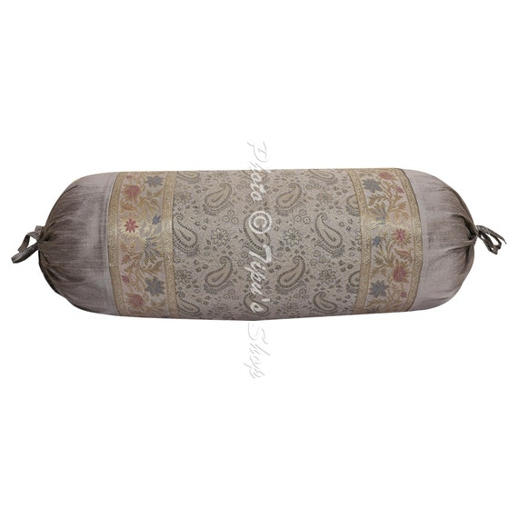 Grey Paisley Bolster Cover Indian Handmade Yoga Pillow Cases Jacquard Brocade Silk Neck Roll Decorative Cushion Ethnic Bolster Cover