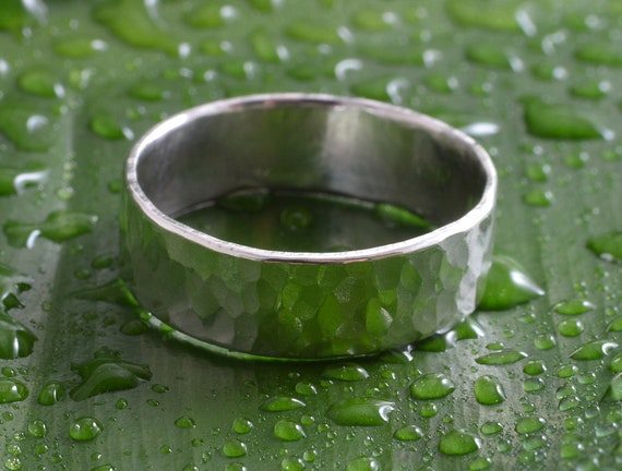STERLING SILVER HAMMERED 8MM RING ~ HANDMADE 100/% RECYCLED SILVER ECOSILVER