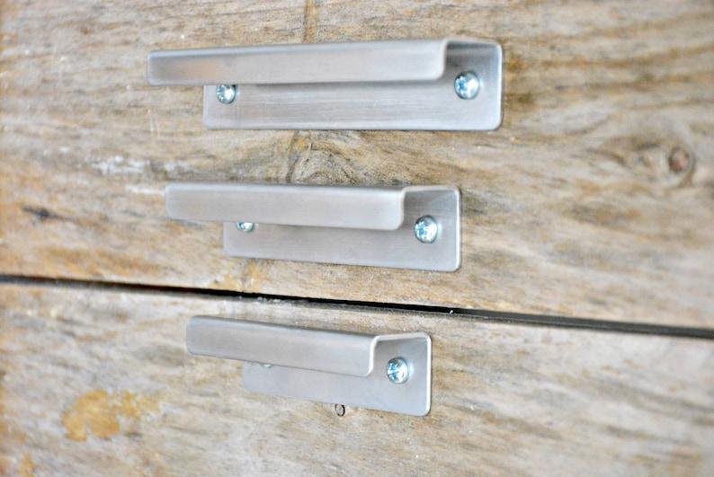 2 or 3 Brushed stainless steel,Industrial Drawer Pull Handle Metal Wall Round Hanger Shelf Hook Cabinet Drawer Door Pull Choose 1