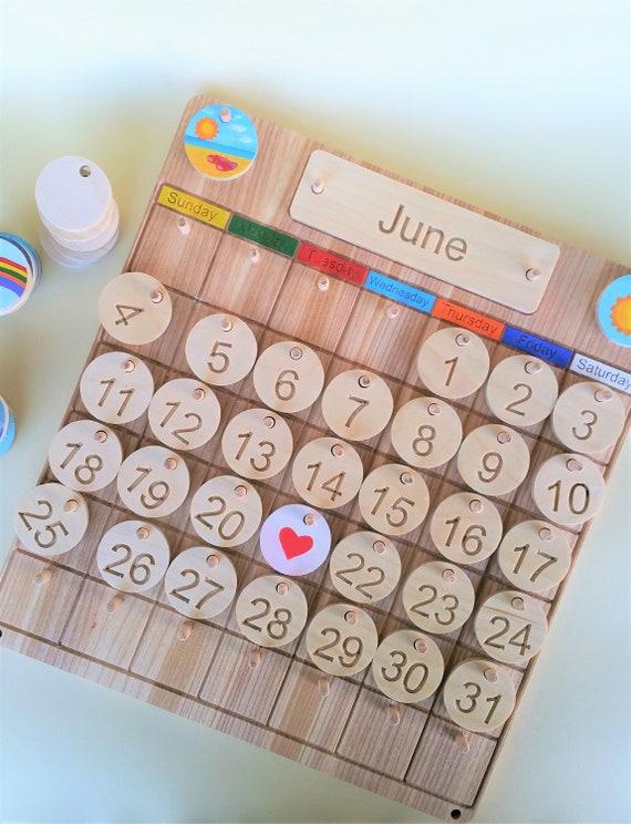Home School Child Perpetual Calendar Wooden Perpetual Etsy