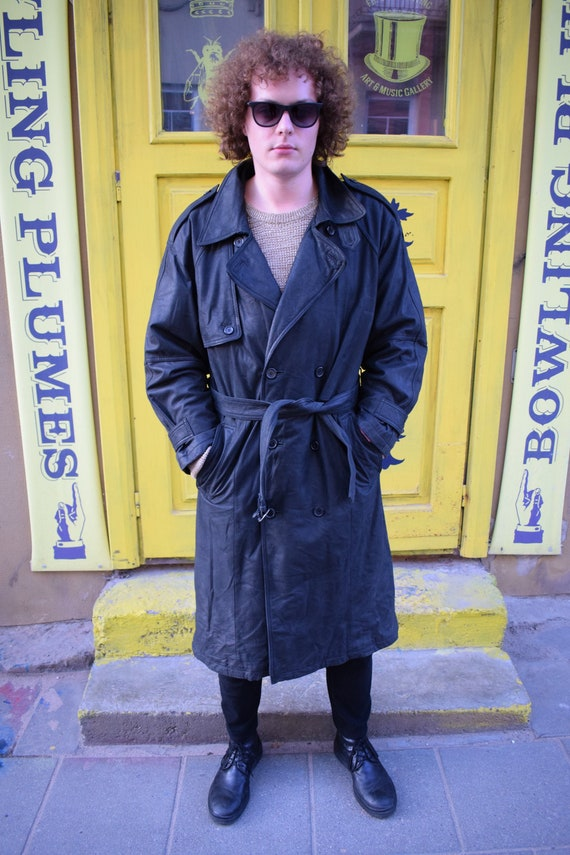 Leather Overcoat / Men Overcoat / Black Leather Ov