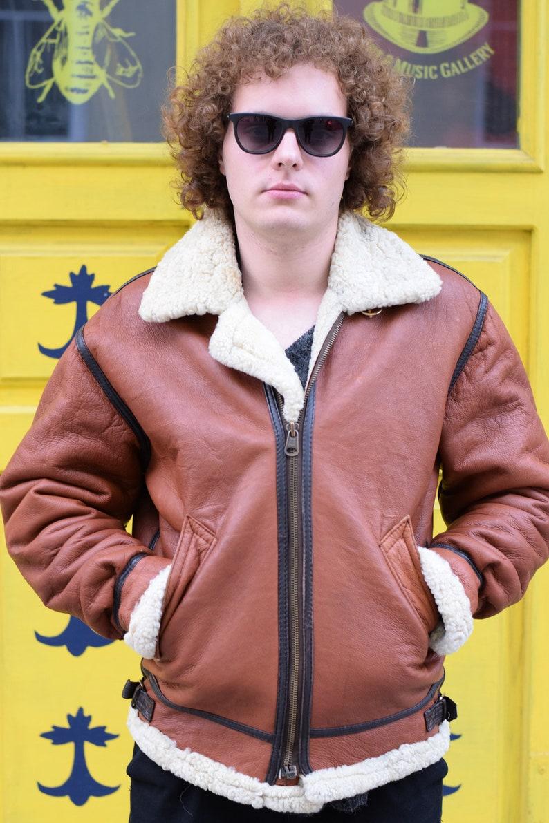 Brown Leather Jacket  Fur Lined Jacket  Fur Jacket  Men Jacket  Faux Fur Jacket  Brown Winter Jacket  Brown Men Jacket  Brown Jacket
