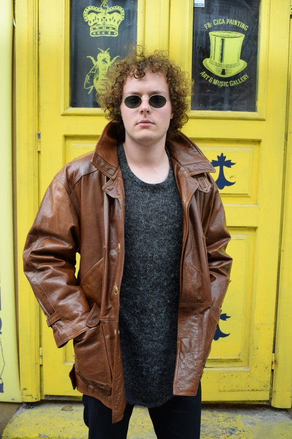 Brown Leather Jacket / Men Leather Jacket / 80s Vi