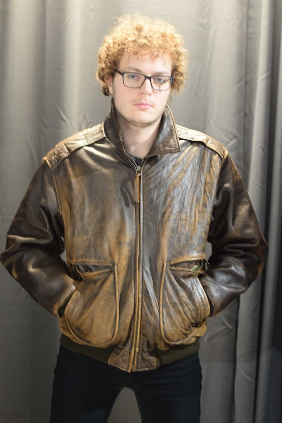 Leather Bomber Jacket / Brown Leather Jacket / Men