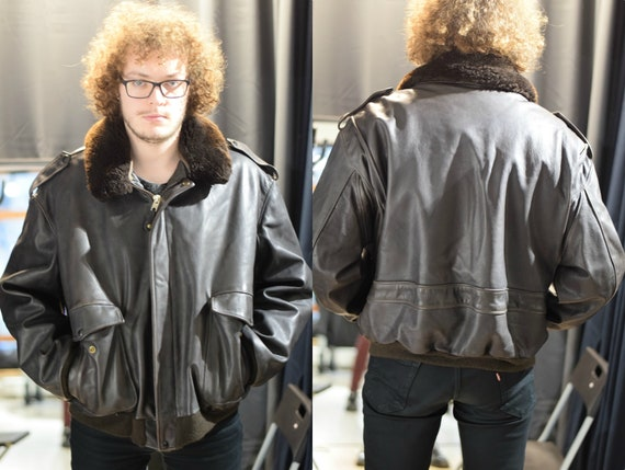 Black Leather Jacket / Leather Fur Jacket / 80s US