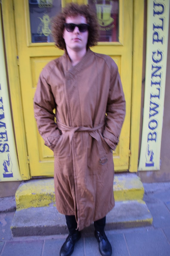 Beige Leather Overcoat / Leather Overcoat / Beige