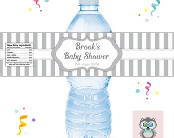 PERSONALISED BABY SHOWER WATER BOTTLE LABELS PARTY FAVOURS YELLOW GREY WHITE ZIG