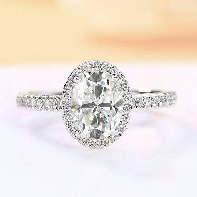 d651f5dc09cc6 Oval halo Engagement ring Personalized Moissanite ring Lab created  moissanite ring Simulate diamond 18Kgold Wedding ring Gift for girlfriend