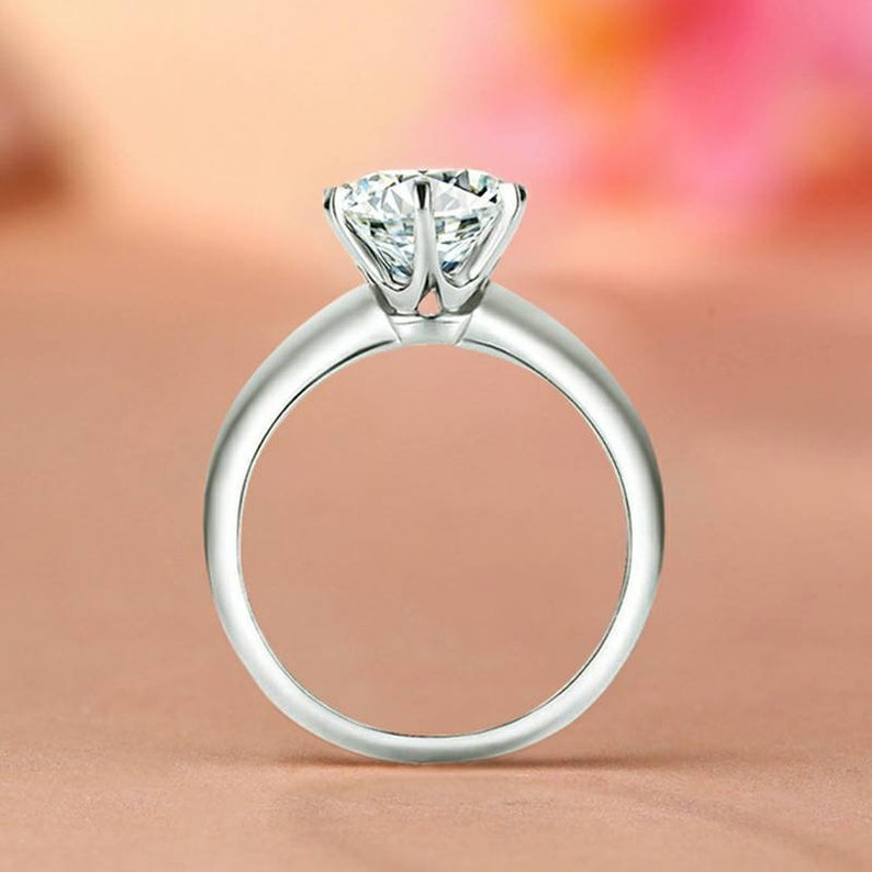 75048215184b4 Personalized Moissanite ring Lab created moissanite ring Simulate diamond  18K gold Wedding ring Engagement ring Gift for girlfriend