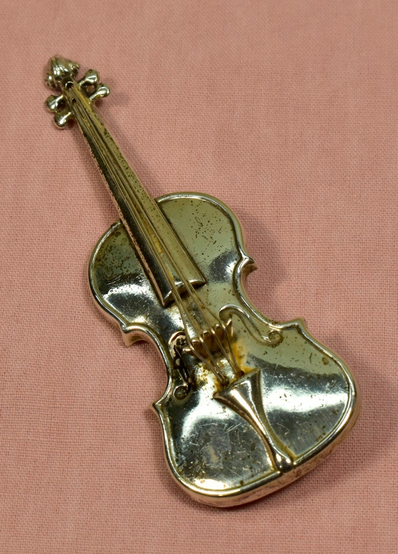 Vintage BroochPin 300007 Violin with Strings LANG Signature 925 Sterling Silver
