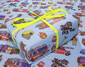 Fire Trucks of the World - quality eco wrapping paper | Hand drawn boys kids illustrations of trucks & fire men on thick birthday gift wrap