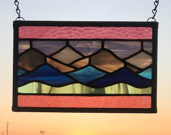 """Stained Glass Misty Mountains  5.5"""" x 8.25"""""""