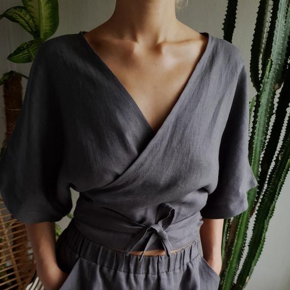 70 colorsWrap Linen tunicLinen wrap topWrap Women blousewomen topWrap ShirtLinen clothingWomen clothingOrganic linen