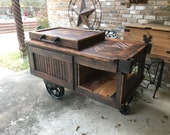 Rolling Wood Drink Cooler with Lineberry Wheels