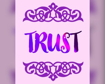 Printable Inspirational Word Quote TRUST