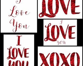 Valentine's Day I LOVE YOU Collection 1 in red & white inspirational wall art decor for girl/boy friend rose flower
