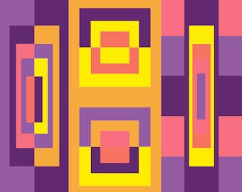 Square Geometric Abstract wall art decor Digital Print #6