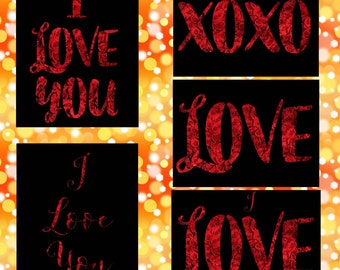 Valentine's Day I LOVE YOU Collection 2 in black & red inspirational wall art decor for girl/boy friend flower rose