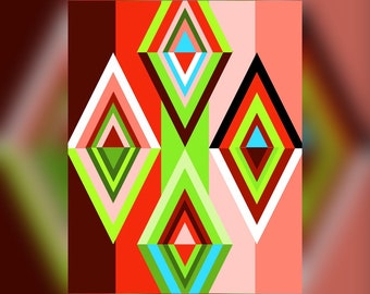 Geometric Abstract Graphic Art Design Triangles Wall Art Print #15