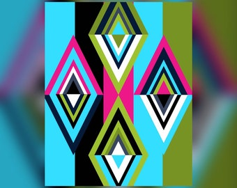 Geometric Abstract Graphic Art Design Triangles Wall Art Print #2