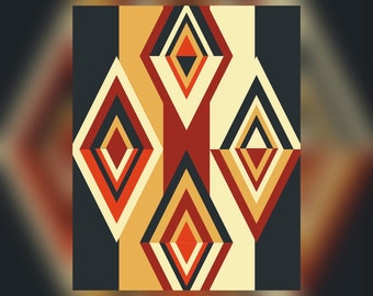 Geometric Abstract Graphic Art Design Triangles Wall Art Print #1