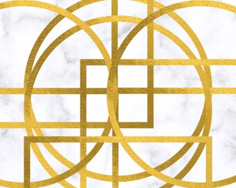Marble Gold Geometric abstract Wall Art Decor #1