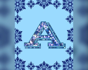 Baby Name initial A-Z, Nursery Blue wall decor Personalized for Boys