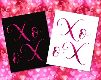 Valentines Day XOXO hugs and kisses inspirational wall art decor pink & black