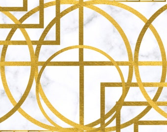 Marble Gold Geometric abstract Wall Art Decor #3