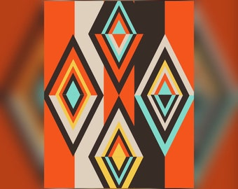 Geometric Abstract Graphic Art Design Triangles Wall Art Print #4