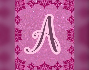 Baby Name initial A-Z, Nursery wall art decor Personalized PINK and PURPLE for girls