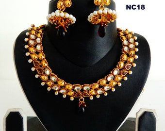 f04e05dc9a5 Party Wear South Indian Necklace Set- Designer Indian Ethnic Wedding Jewelry  - One Gram Gold Necklace With Jhumka Earrings - Fashion Jewelry