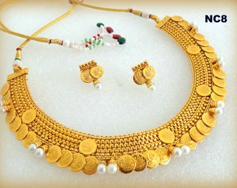 3e7d1d1525a South Indian Fashion Coin Necklace - Temple Jewelry - Ginni Necklace -  Goddess Laxmi Coin Jewelry - Designer One Gram Gold Jewelry - Pearls