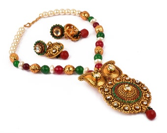 1b5b84363fc Bollywood Fashion One Gram Gold Necklace Set - Traditional Ethnic Festival  Wear Pendant Necklace - Stone Beaded - Pearl Beaded - Party Wear